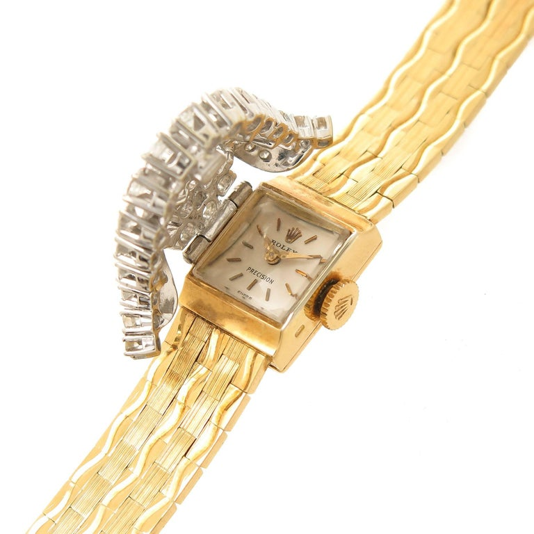 Rolex Ladies Yellow Gold Diamond Covered Bracelet manual Wristwatch In Excellent Condition For Sale In Chicago, IL