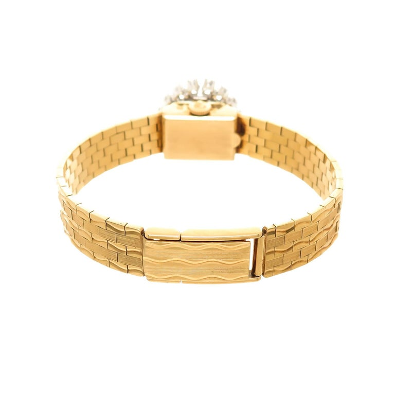 Rolex Ladies Yellow Gold Diamond Covered Bracelet manual Wristwatch For Sale 1