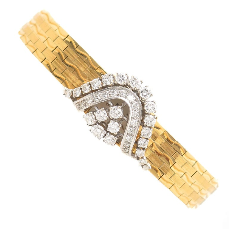 Rolex Ladies Yellow Gold Diamond Covered Bracelet manual Wristwatch For Sale