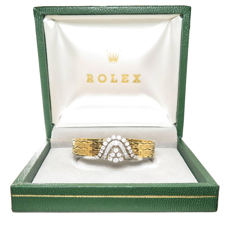 Rolex Ladies Yellow Gold Diamond Covered Bracelet manual Wristwatch For Sale 3