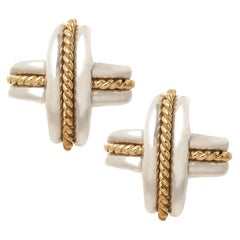 Tiffany & Co. Large Gold and Silver Signature X Earrings