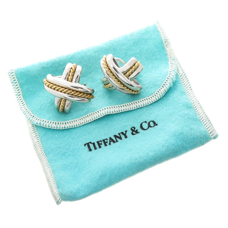 Tiffany & Co. Large Gold and Silver Signature X Earrings For Sale 1