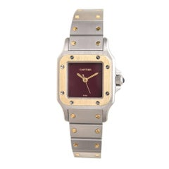 Cartier Ladies Yellow Gold stainless Steel Santos Red Dial Automatic Wristwatch