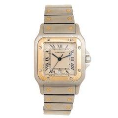 Cartier yellow Gold Stainless Steel Santos Large Quartz Wristwatch