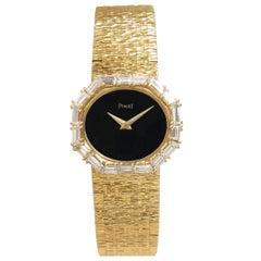 Piaget Ladies yellow Gold Diamond Bezel Onyx Dial Mechanical Wristwatch