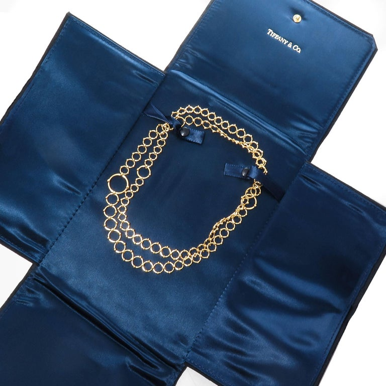 Women's Tiffany & Co. Yellow Gold Long Circles Necklace For Sale