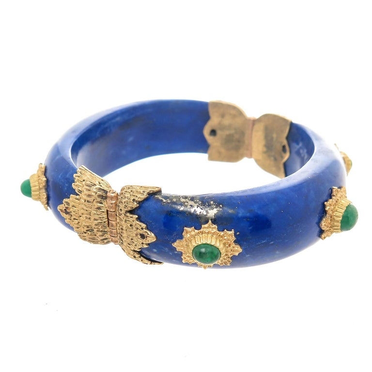 Buccellati Emerald Lapis and Gold Bangle Bracelet In Excellent Condition For Sale In Chicago, IL