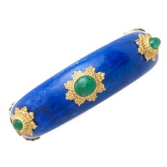 Buccellati Emerald Lapis and Gold Bangle Bracelet