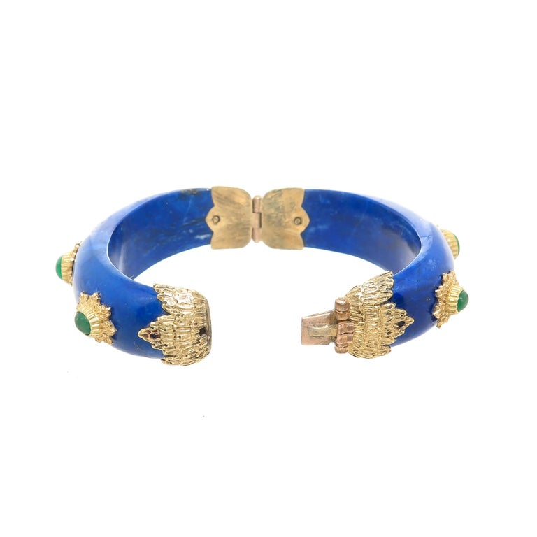 Women's Buccellati Emerald Lapis and Gold Bangle Bracelet For Sale