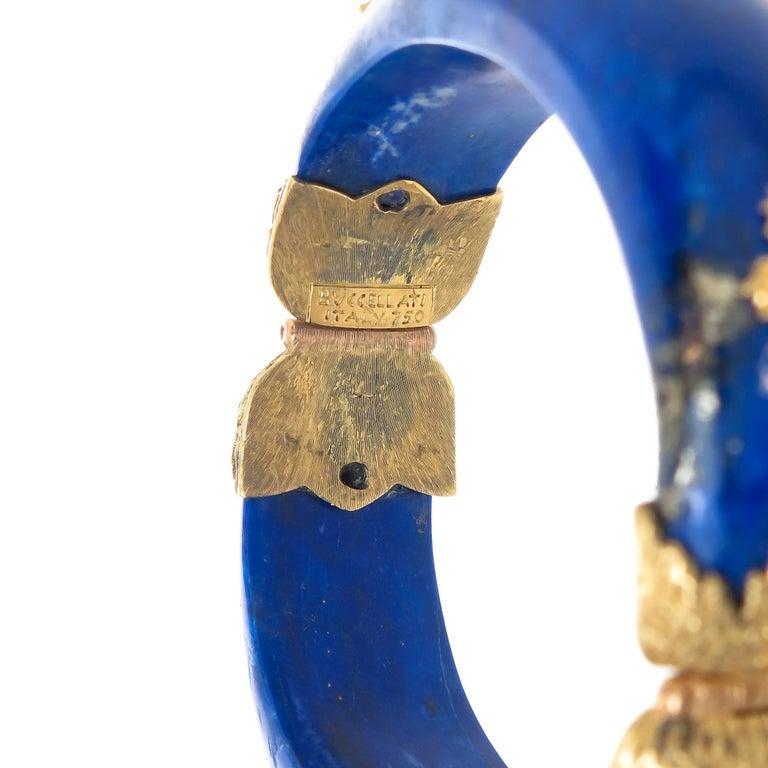 Buccellati Emerald Lapis and Gold Bangle Bracelet For Sale 1
