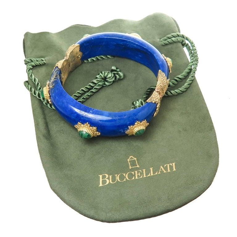 Buccellati Emerald Lapis and Gold Bangle Bracelet For Sale 2