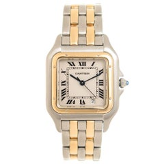 Cartier Yellow Gold Stainless Steel Panther Mid Size Quartz Wristwatch