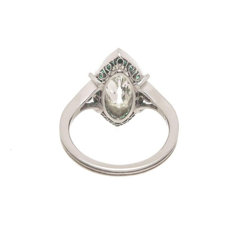 Art Deco 1.75 Carat Old Cut Marquise Diamond Platinum Ring For Sale