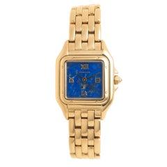 Cartier Ladies Yellow Gold Panther Lapis Dial Quartz Wristwatch