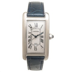 Cartier White Gold Tank American Mid Size Automatic Wristwatch