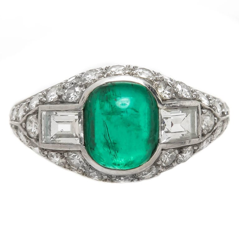 Tiffany And Co Art Deco Emerald Diamond Platinum Ring For
