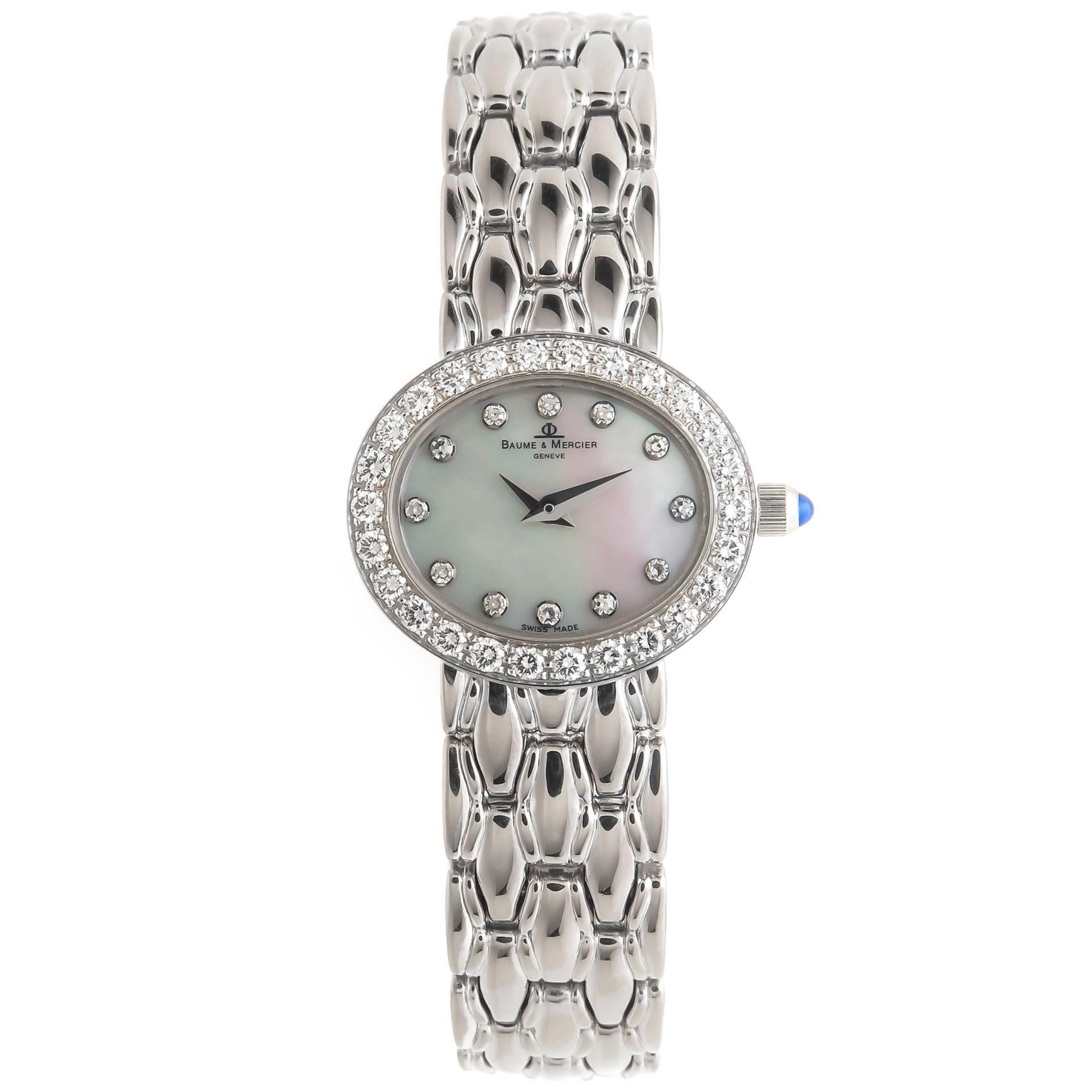 756e2b7d982 Baume and Mercier Ladies White Gold Diamond Quartz Wristwatch at 1stdibs