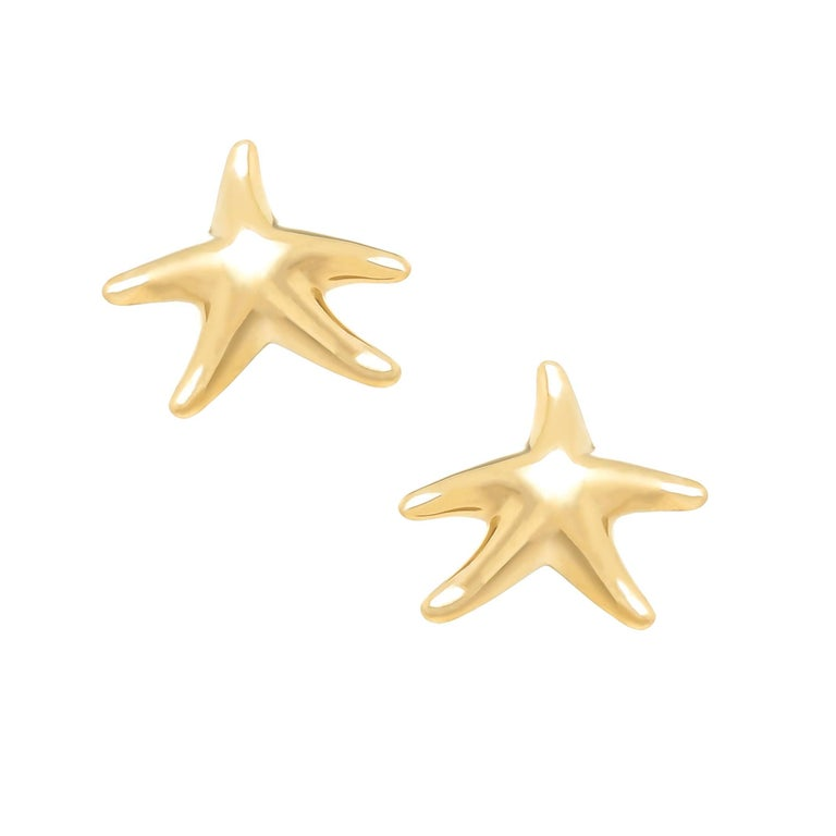 Tiffany Co Elsa Peretti Yellow Gold Starfish Earrings For