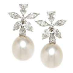 Diamond and South Sea Pearl Day Night Earrings
