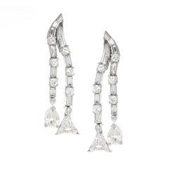 Platinum and Diamond 1940s Dangle Earrings