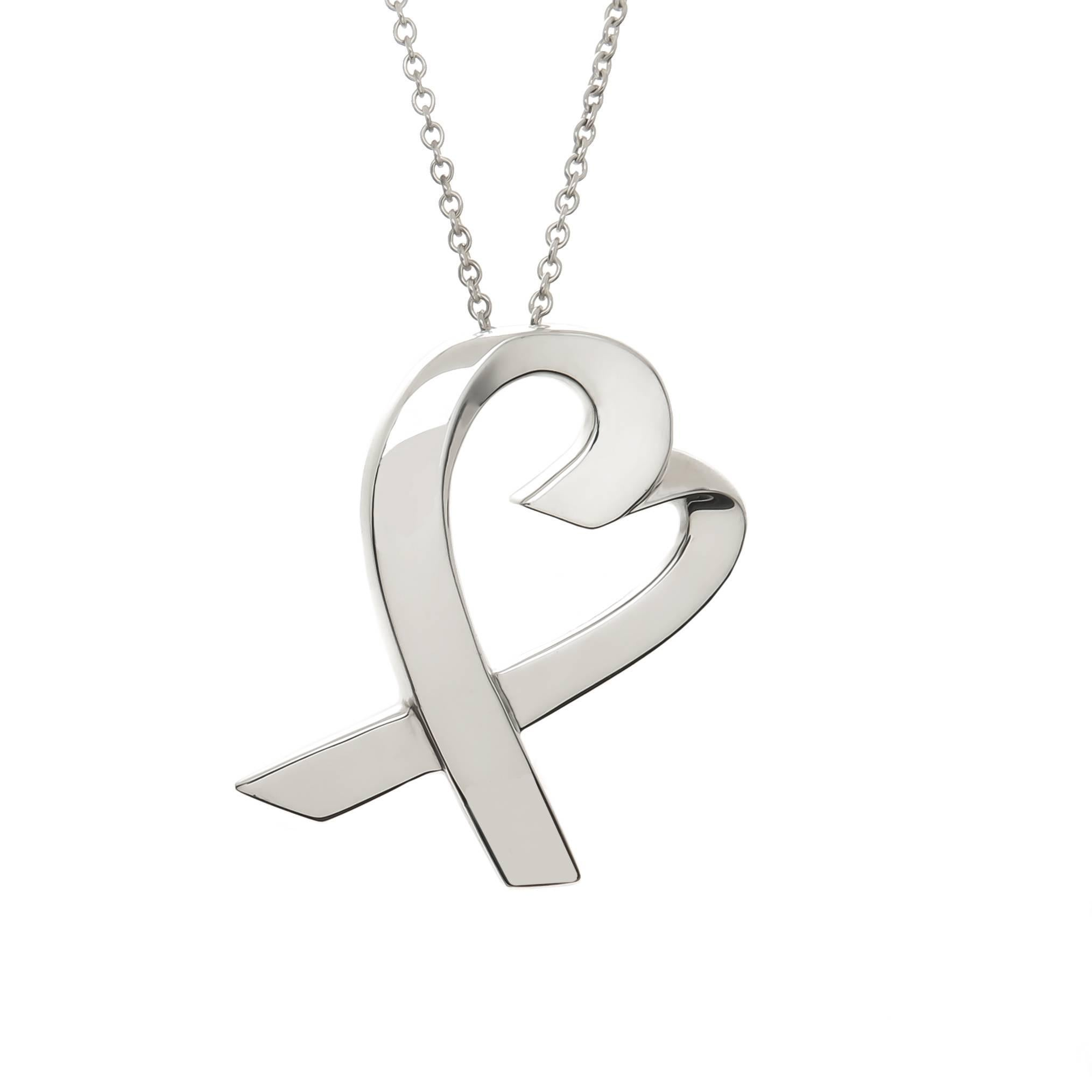 Paloma picasso tiffany and co large silver loving heart necklace paloma picasso tiffany and co large silver loving heart necklace for sale at 1stdibs aloadofball Image collections
