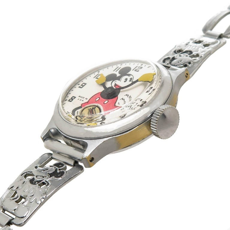 Ingersoll Stainless Steel Mickey Mouse Wristwatch with Important Provenance 1933 2