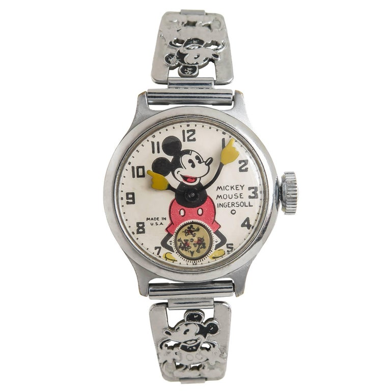 Ingersoll Stainless Steel Mickey Mouse Wristwatch with Important Provenance 1933 1