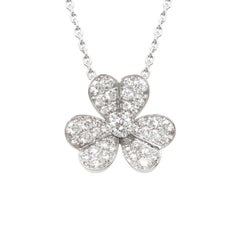 Van Cleef & Arpels Frivole White Gold and Diamond Flower Pendant