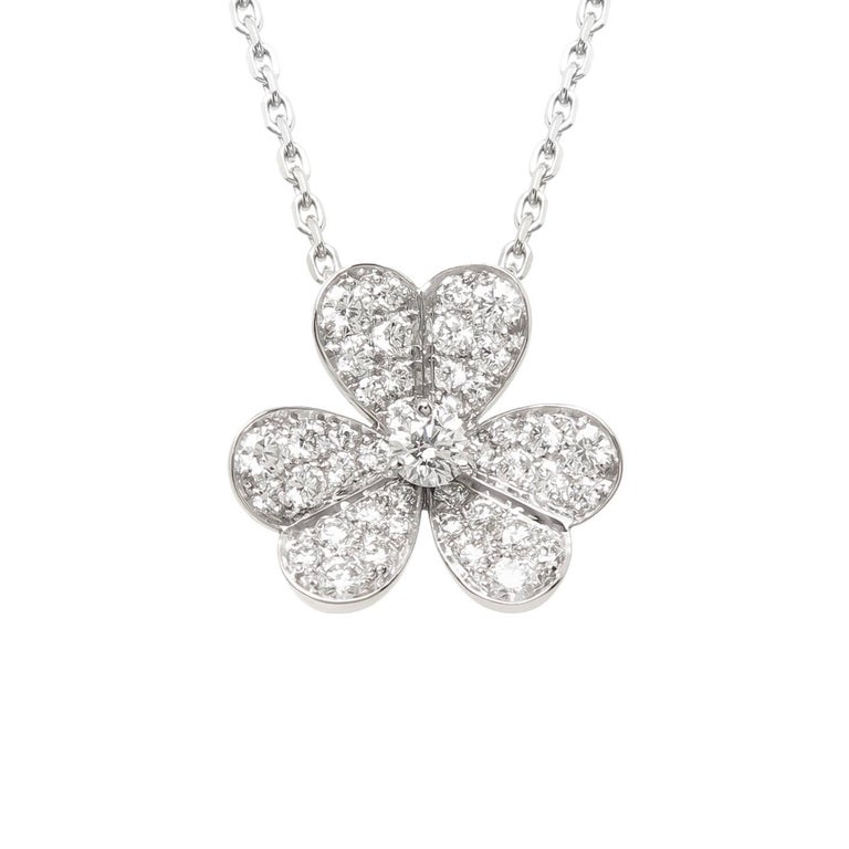 Van Cleef & Arpels Frivole White Gold and Diamond Flower Pendant For Sale