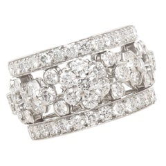 Van Cleef & Arpels Platinum and Diamond Snow Flake Band Ring