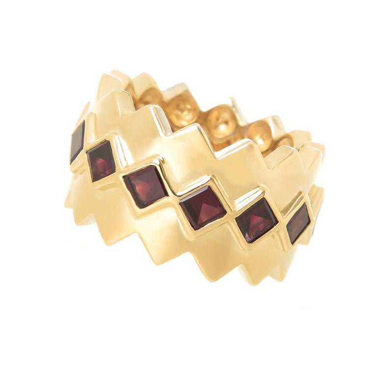 Tiffany & Co. Yellow Gold and Garnet Wide Band Ring For Sale