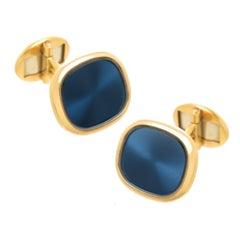 Patek Philippe Ellipse Yellow Gold and Blue Enamel Cufflinks