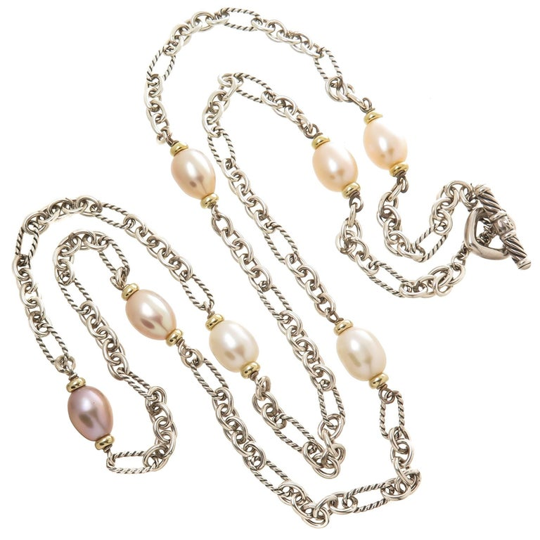 David Yurman Figaro Collection Gold Silver and Pearl Long Necklace