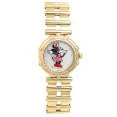Gerald Genta Ladies Yellow Gold Diamond Minnie Mouse Quartz Wristwatch