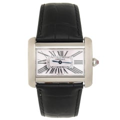 Cartier Stainless Steel Mother-of-Pearl Dial Tank Divan Quartz Wristwatch
