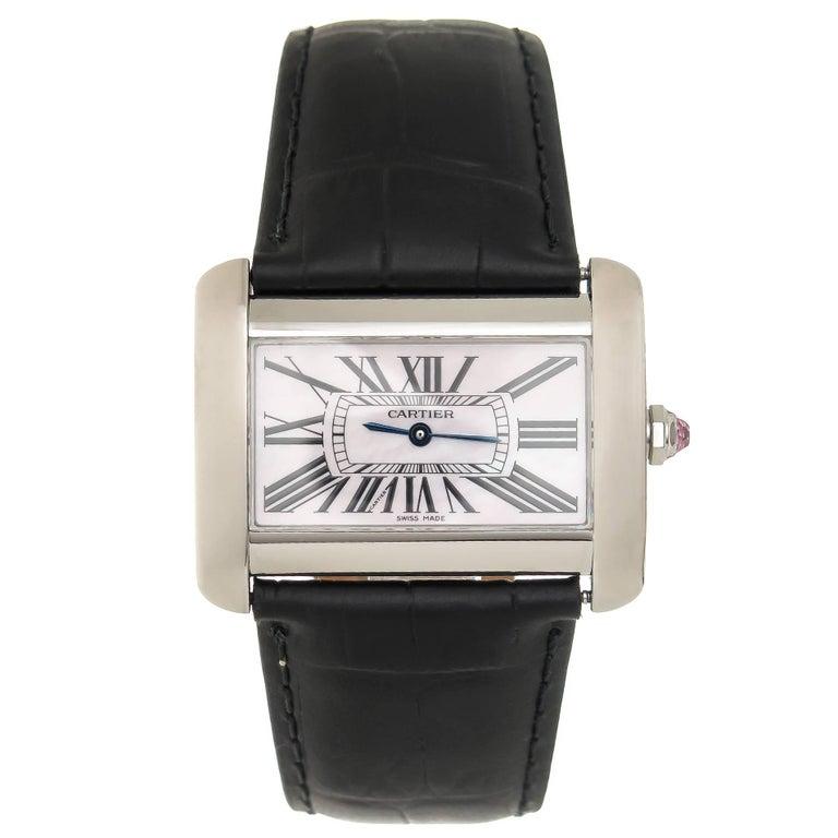 Cartier Stainless Steel Mother-of-Pearl Dial Tank Divan Quartz Wristwatch