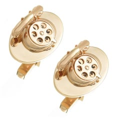 Yellow Gold Vintage Telephone Cufflinks, 1950s