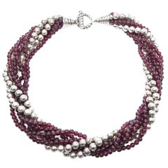 Tiffany & Co. Garnet and Silver Bead Torsade Necklace