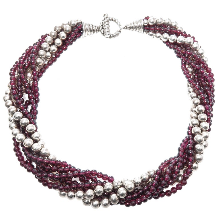 Tiffany & Co. Garnet and Silver Bead Torsade Necklace For Sale