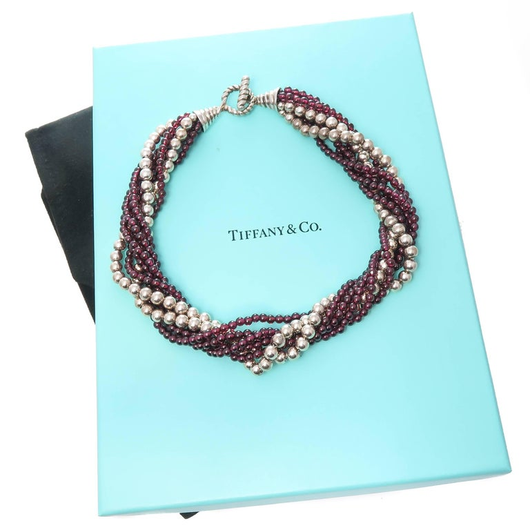 Tiffany & Co. Garnet and Silver Bead Torsade Necklace For Sale 1