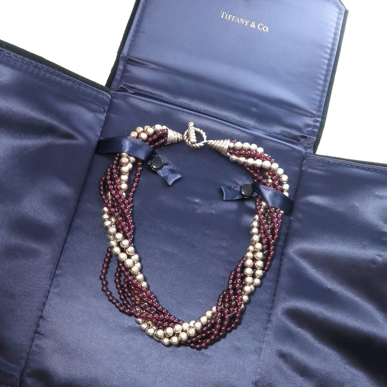 Women's Tiffany & Co. Garnet and Silver Bead Torsade Necklace For Sale