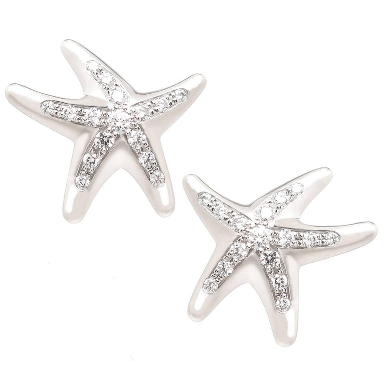 Elsa Peretti Platinum And Diamond Starfish Earrings For