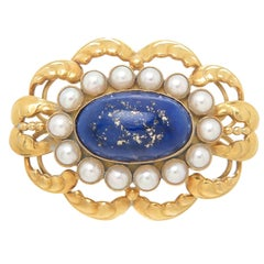Georg Jensen Rare Yellow Gold Lapis and Pearl Brooch