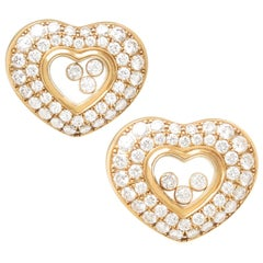 Chopard Happy Diamond Floating Diamond Yellow Gold Earrings