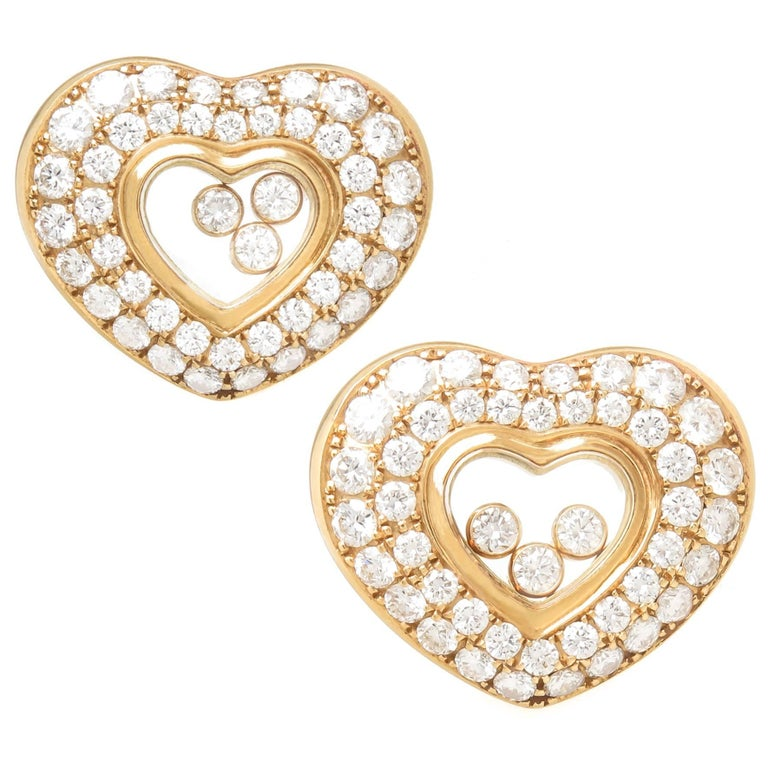 Chopard Happy Diamond Floating Diamond Yellow Gold Earrings