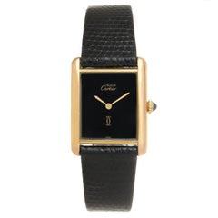 Cartier Vermeil Must De Cartier Classic Midsize Tank Wristwatch
