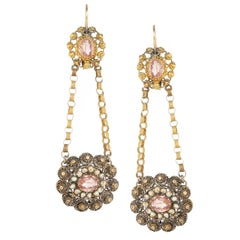 Georgian Gold Pearl and Foil Back Pink Stone Earrings