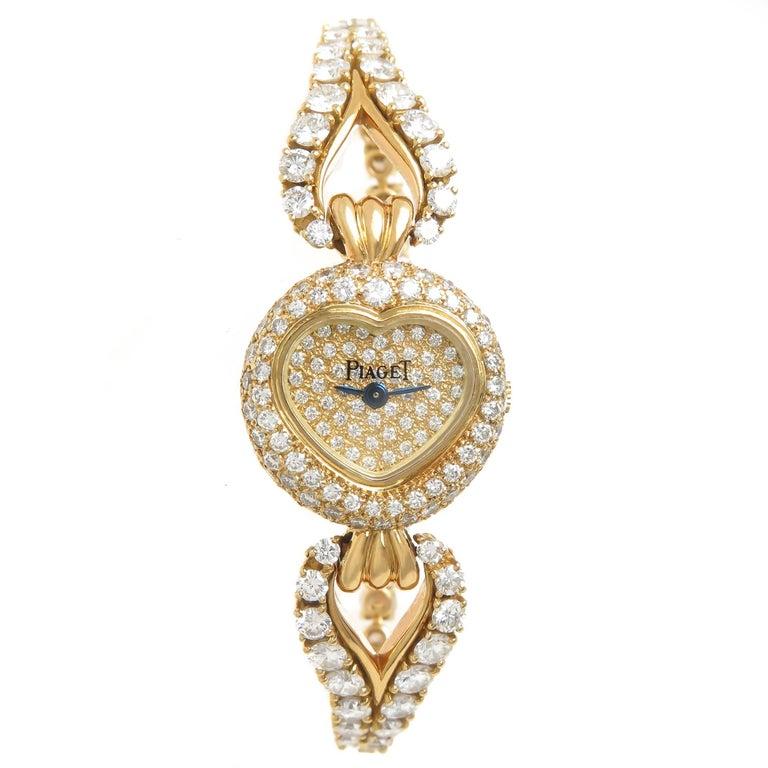 Piaget Ladies Yellow Gold Diamond Heart Classique Bracelet Quartz Wristwatch