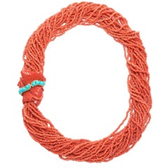 Seaman Schepps Large Coral Gold and Turquoise Torsade Necklace