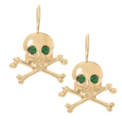 Yellow Gold and Green Garnet Skull and Crossbones Earrings